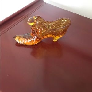 Vintage amber Fenton glass slipper